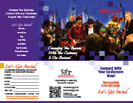 Mikesgig music store marketing brochure