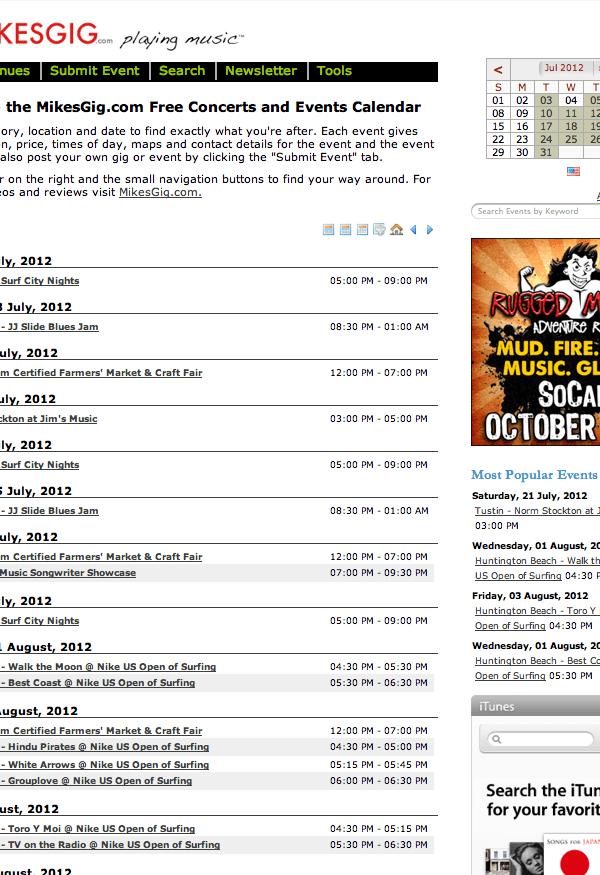 mikesgig free concert calendar