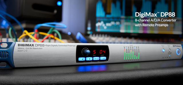 The PreSonus® DigiMax™ DP88 8-channel microphone preamplifier and A/D/A converter combines eight remote-controllable, high-headroom mic preamps with advanced remote control features, superior connectivity, and unprecedented integration with the new Studio […]