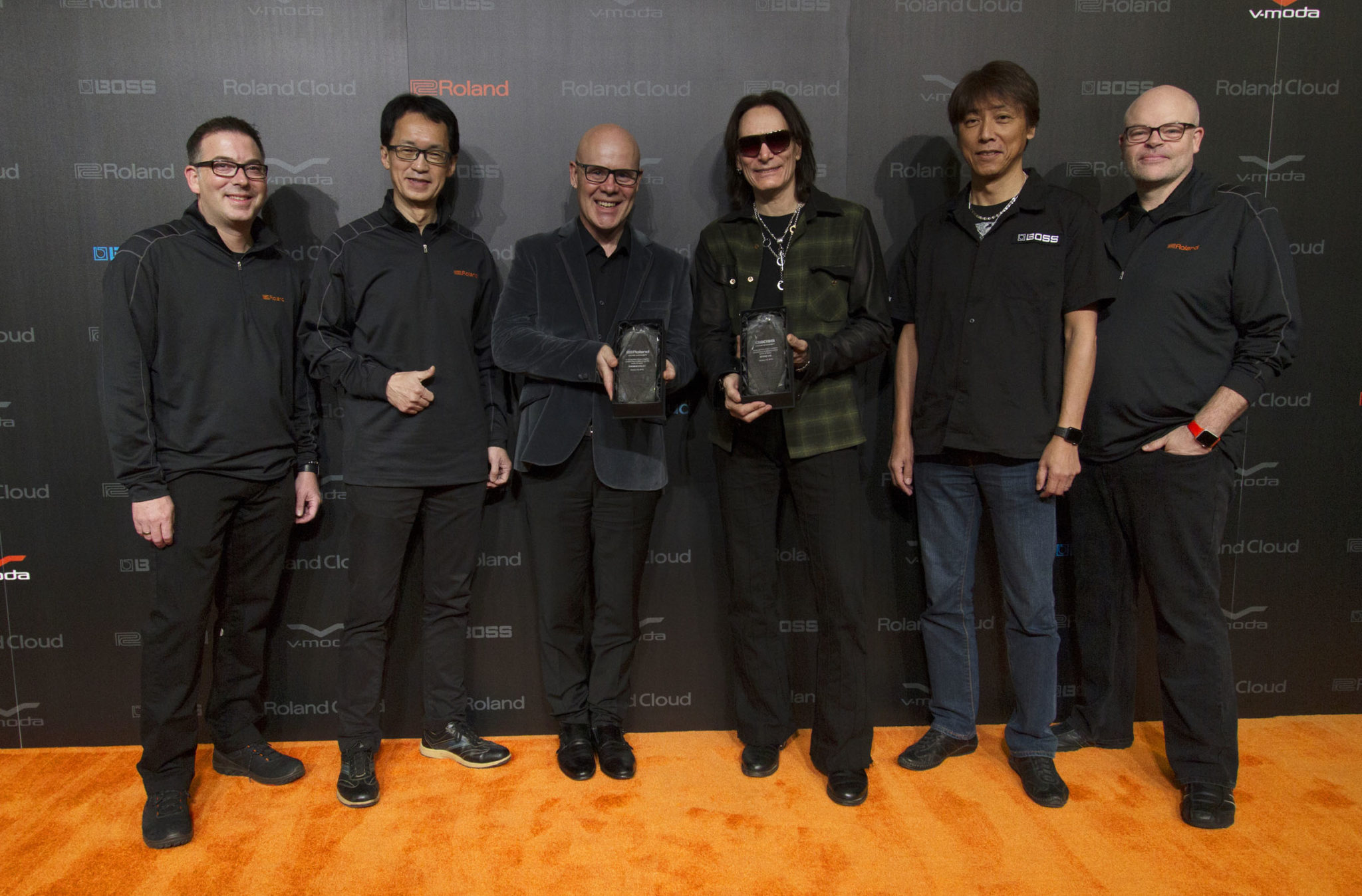Roland and BOSS Present Lifetime Achievement Awards to Thomas Dolby and Steve Vai at NAMM 2018