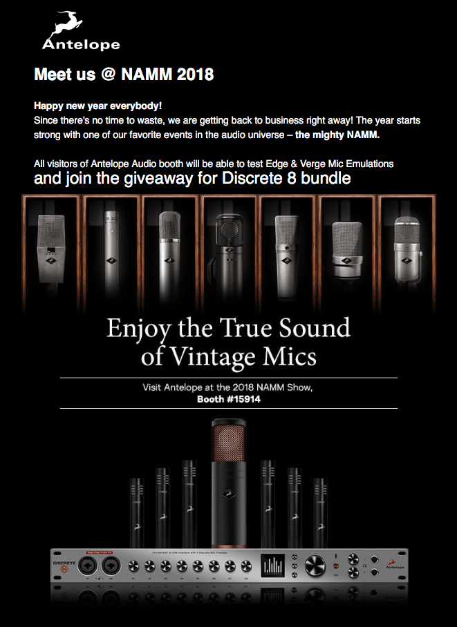 Antelope Audio Will Be Giving Away A Discrete 8 bundle At NAMM 2018